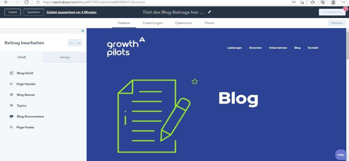 HubSpot Blogbeitrag erstellen Design angepasst an Unternehmen