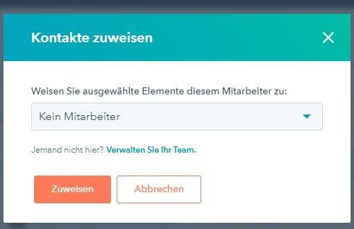 Zuweisen eines Kontaktes zu einem Team-Mitglied - Auswahl des Mitglieds