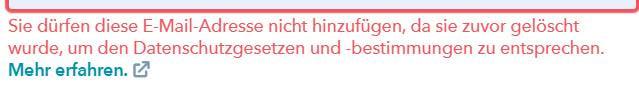 screenshot hubspot fehlermeldung kontakterstellung