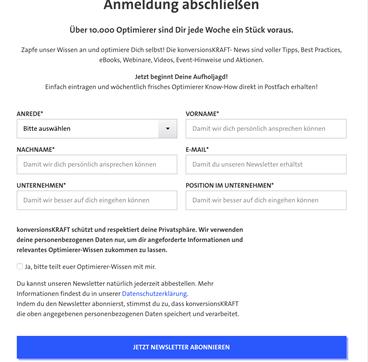 Beispiel Newsletter Anmeldung Kontaktformular mit zusätzlicher Abfrage von Unternehmensdaten