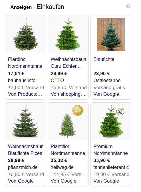 Beispiel Google Shopping Weihnachtsbäume